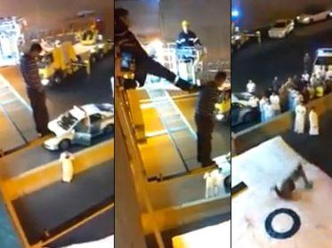 Video: Bombero empujó al vacío a un suicida