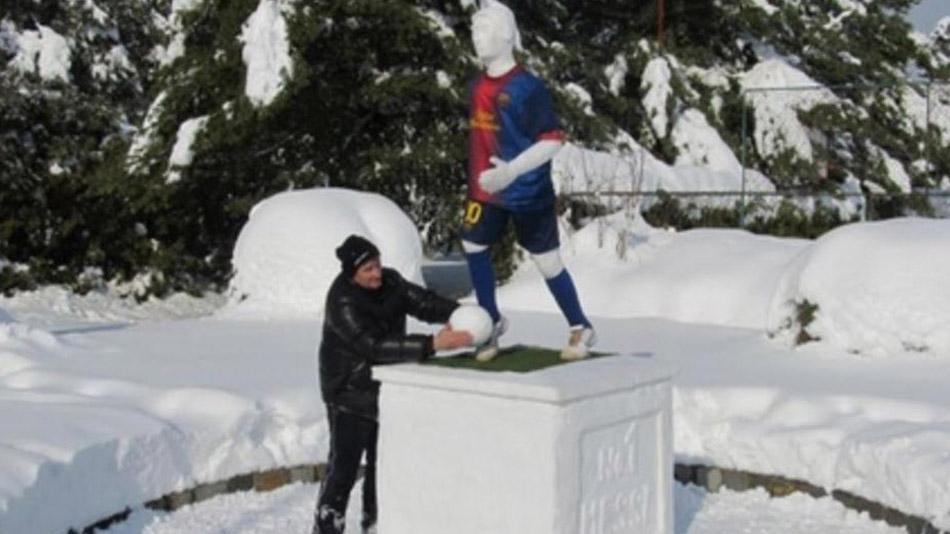 Foto: Estatua de hielo de Lionel Messi